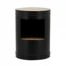 By-Boo Nachtkastje Barrel – Zwart