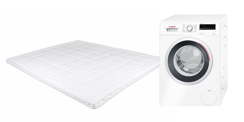 topmatras in de wasmachine